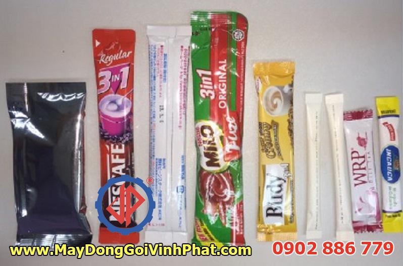 Một số mẫu bao bì của máy đóng gói stick Vĩnh Phát cho đường que, cafe, gia vị, tương ớt...